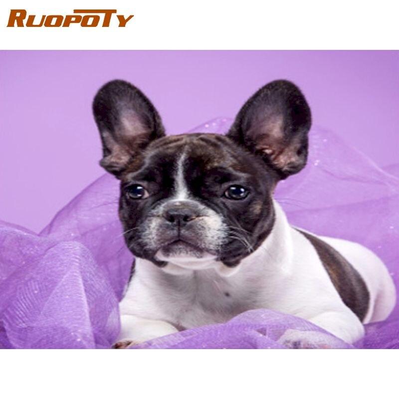 RUOPOTY Full Square Diamond Painting Dog Kids 5D DIY Diamond Embroidery Animals Craft Kit Diamond Mosaic Art Home Decorations