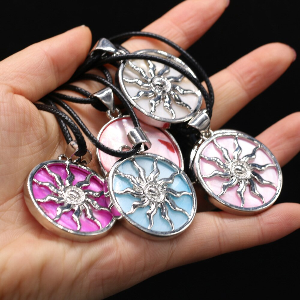 2021 Fashion Cute Alloy Sun Charms Necklace Natural Abalone Shell Pendant Necklaces Bohemian Choker Jewelry Girls Birthday Gift  - buy with discount