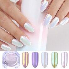 1 Box Perle Nagel Glitter Shiny Spiegel Matte Shell Weiß Lila Blau Nail art Pigment Staub Pulver Nagel Dekorationen