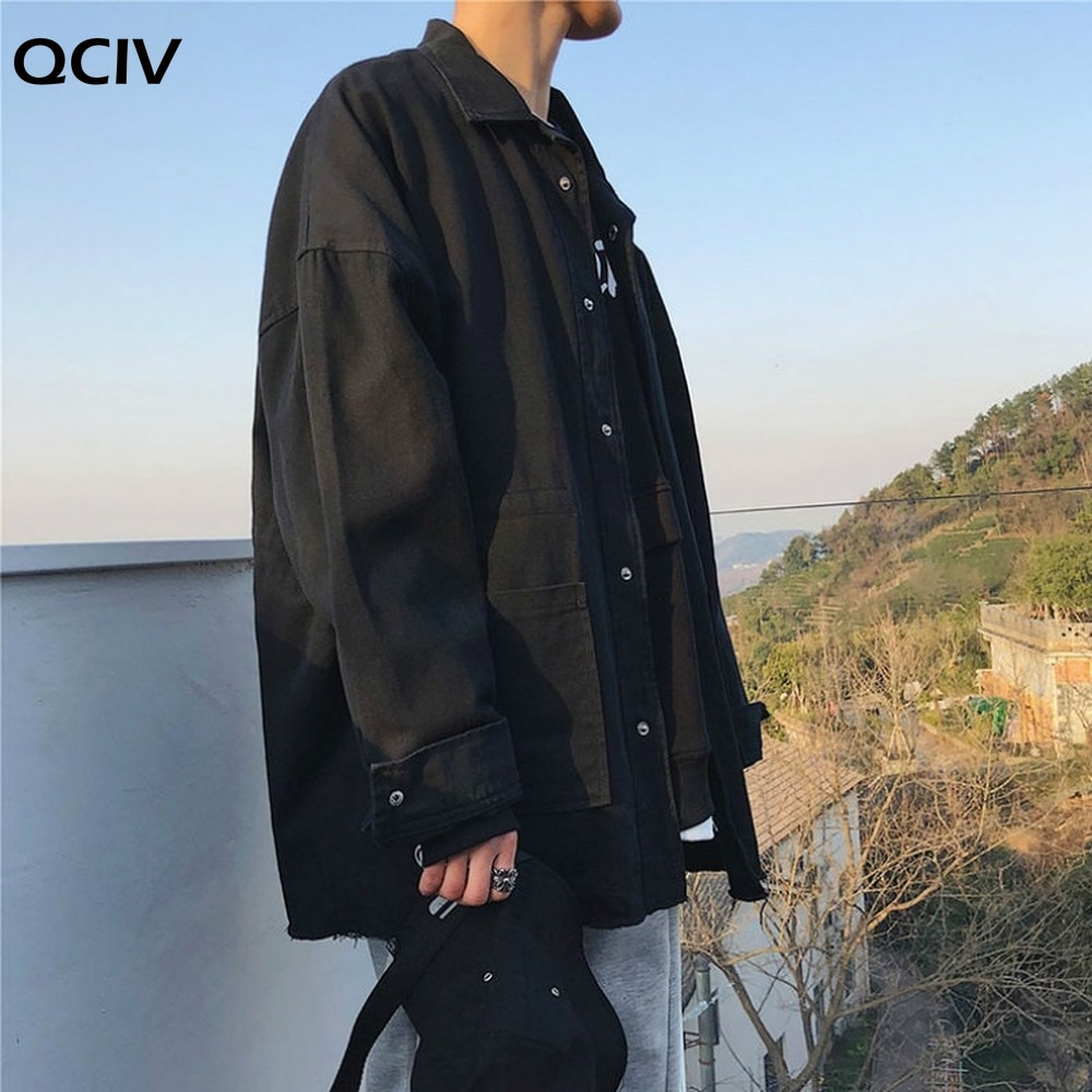 Men Jackets Denim Washed Classic Basic Males Korean Style Fashionable Comfortable Single Breasted Turn-down Collar with Pockets  - buy with discount