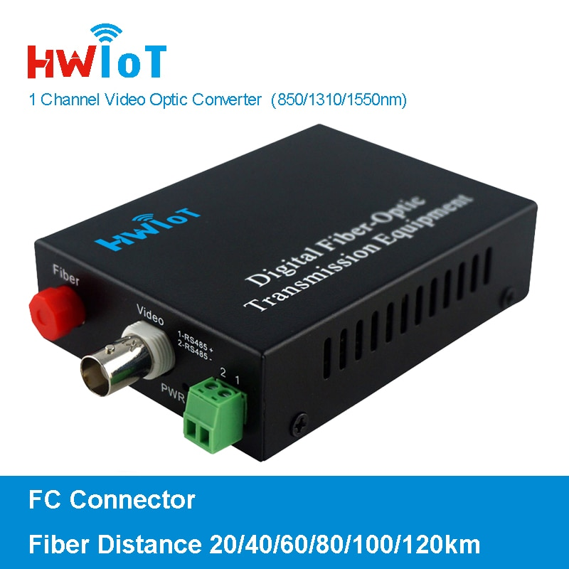 1 Channel Pair Optic Video Transmitter and Receiver HD-TVI/CVI/AHD Fiber Media Converter with or without RS485 Data 20KM