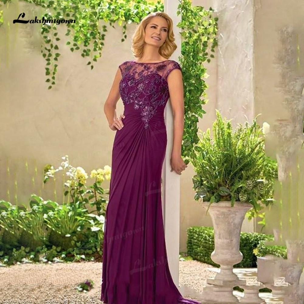 Envoltura De gasa púrpura Simple Para madre De La Novia, Vestidos De...