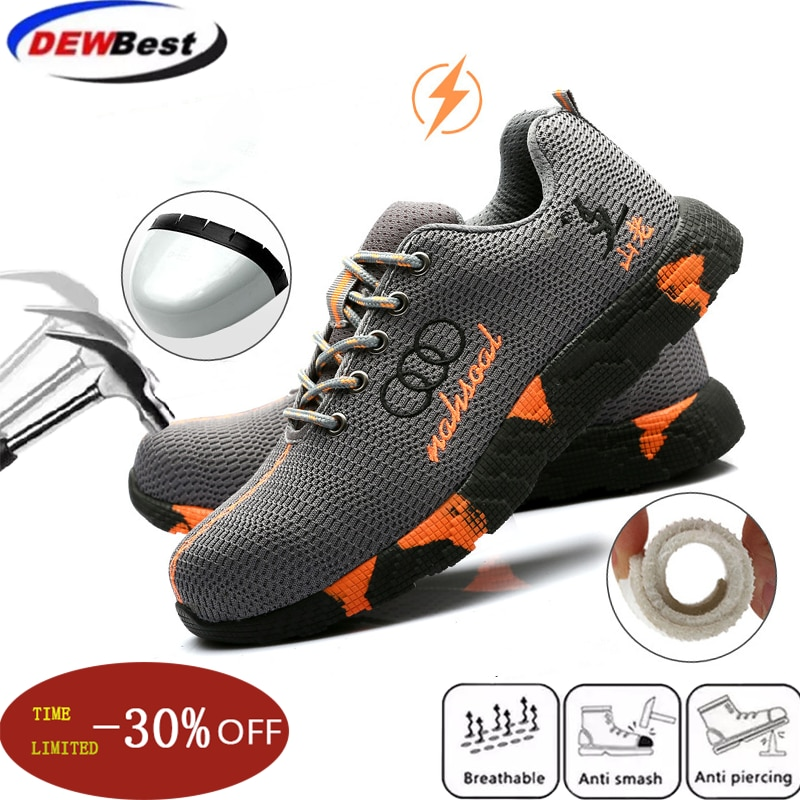 Steel Toe Safety Shoes Men Women Breathable Mesh Industrial & Construction Puncture Proof Work Boots