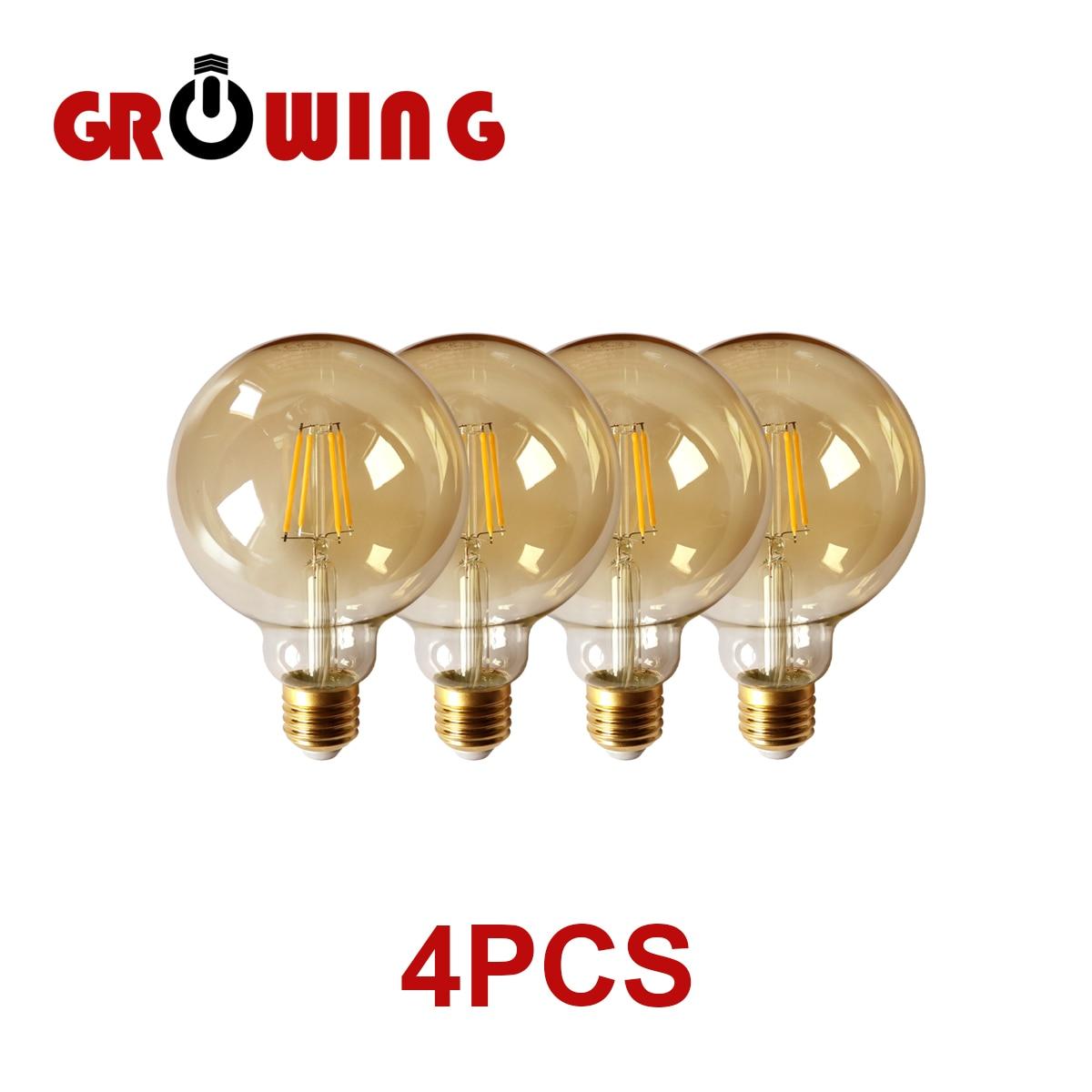 Bombilla de filamento Retro Edison G95 E27, 6w, 220v-240v, lámpara Vintage, 2700k,...