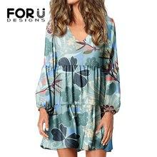 FORUDESIGNS Women's Loose Dresses Butterflies With Flower Lantern Sleeve V-Neck Swing Short Skirt Co