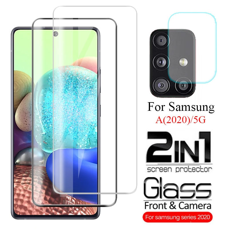 2 In1 Screen Protector Tempered Glass Camera Lens for Samsung Galaxy A51 A71 5G A21 A31 A41 A11 A21s
