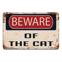 beware of the cat warning sign vintage retro tin sign metal sign decor for garage home bar pub store shop hotel man cave club