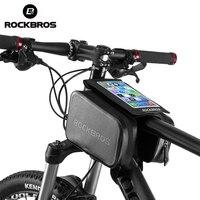 ROCKBROS Waterproof Bicycle Bag Touch Screen MTB Mountain Bike Top Tube Frame 6.0 Phone Bag Panner Rainproof Cycling Bag Black