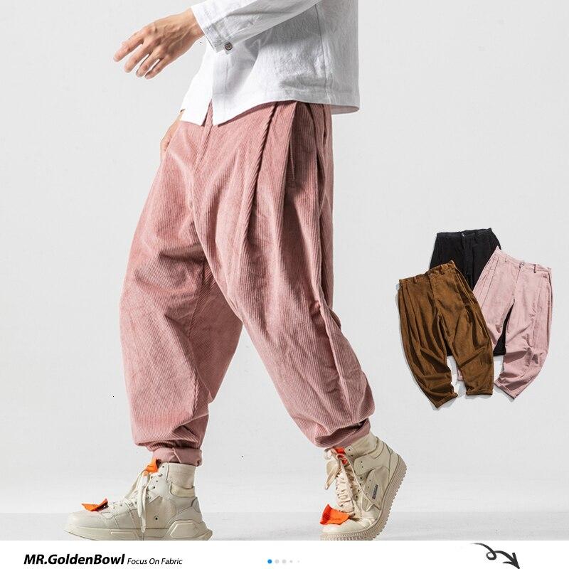 Мужские вельветовые шаровары MrGoldenBowl осень 2020 брюки в китайском стиле мужские однотонные черные спортивные брюки мужские свободные брюки о...