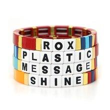 Shinus lettre Bracelet émail carreaux Bracelets bohème Pulseras Mujer Moda femmes bijoux empilables Bracelets à la main usine