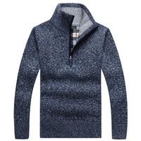 Мужской пуловер, плотный теплый вязаный пуловер, мужской свитер, однотонная модная водолазка, свитеры, полумолния, теплое флисовое зимнее п...