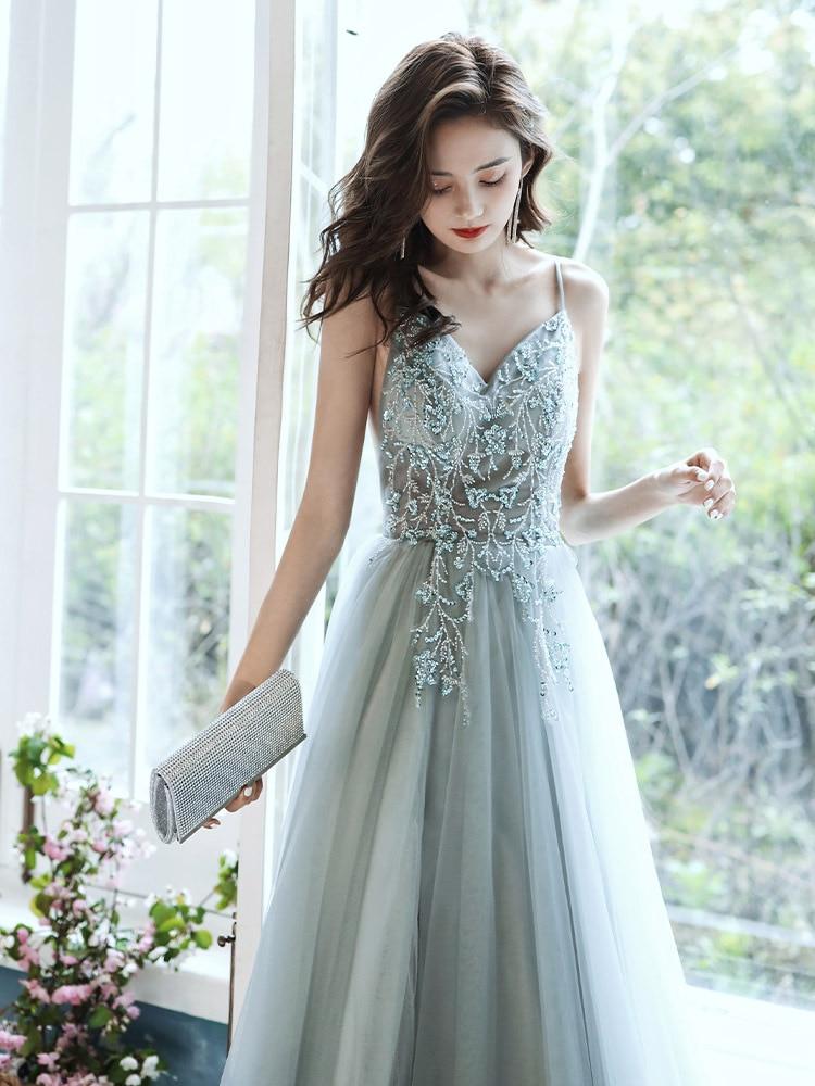 Evening Dress 2021 New Banquet Elegant Gorgeous Queen Slit  Appliques Party Prom Gowns
