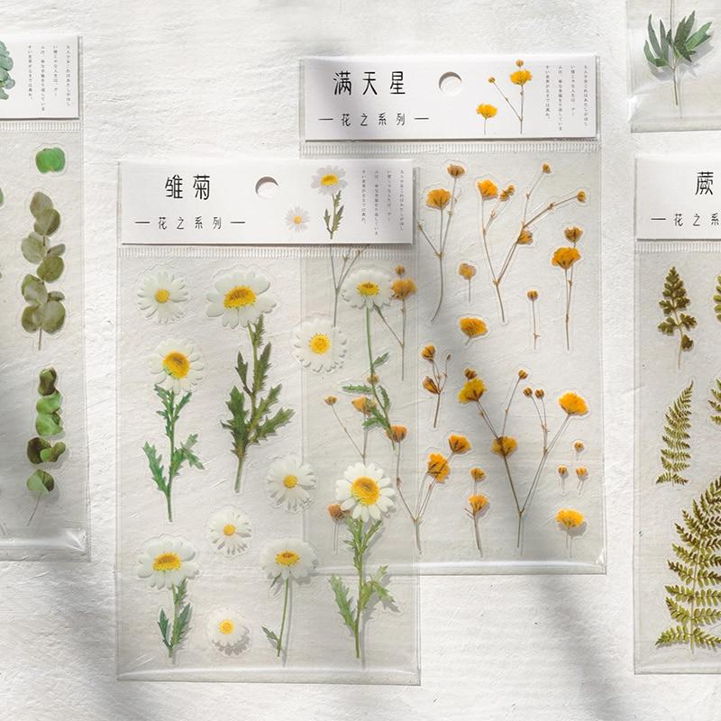 Margarida íris eucalipto globulus flor serie bala diário decorativo papelaria adesivos scrapbooking menina diário álbum vara
