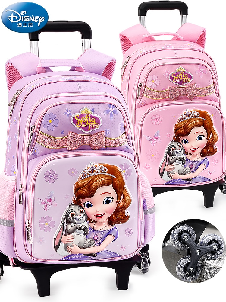 Authentic Authorized Disney Children's Trolley School Bag Pupils Ice And Snow Sophia 1-4 Grade Girls Backpack School Bag