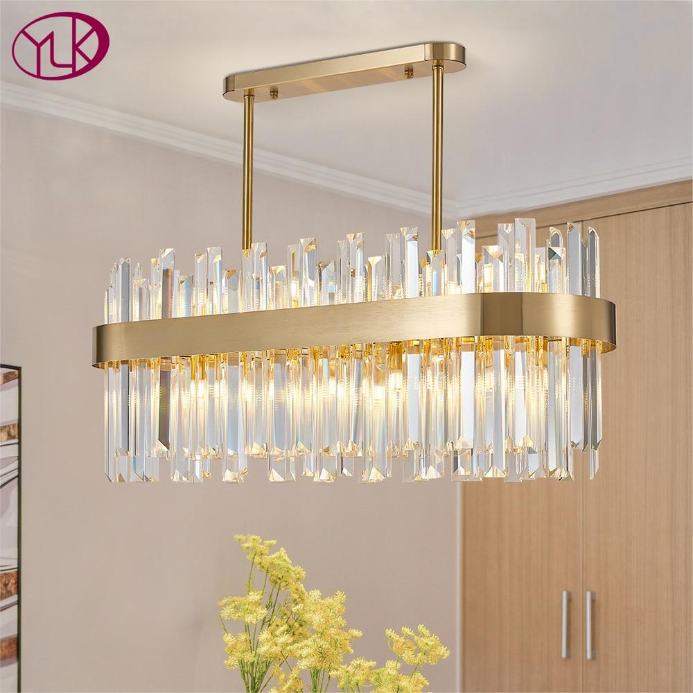 Modern crystal chandelier for dining room brushed gold led cristal lamp kitchen island hang light fixture luxury indoor lighting