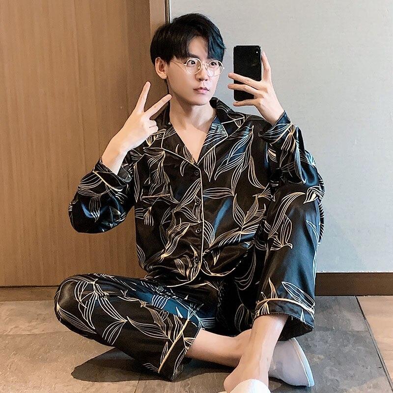 Мужчины удобные пижамы плюс размер 3XL 4XL 5XL длинный рукав повседневный дом одежда осень шелк мальчик пижама комплекты досуг одежда для сна комплект