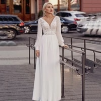 elegant a line wedding dresses custom made v neck long sleeve backless sweep train buttons applique 2021 white bridal gowns