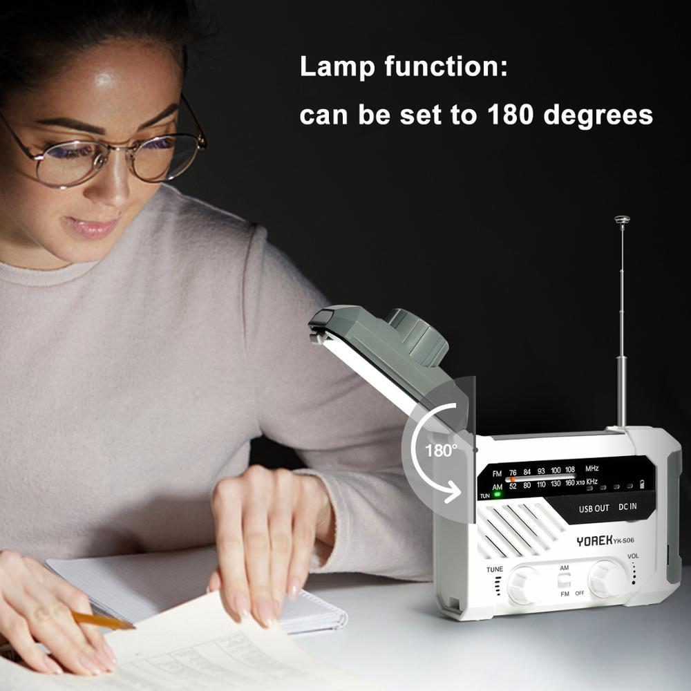 Yorek Emergency AM FM Radio, Hand Crank Battery Operated Solar Radio with LED Flashlight, Desk Lamp,2000mAh Charger,SOS Alert enlarge