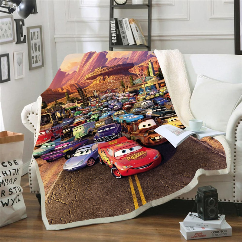 Disney Lightning McQueen 95 Car Baby Plush Blanket Throw Sofa Bed Cover Single Twin Bedding for Boys Girls Children Lovely Gifts