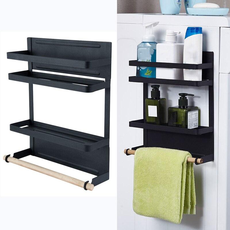 Металлическая кухонная стойка 2 уровня, магнитный органайзер для холодильника, полка для специй, бумажное полотенце, держатель в рулоне, полка для хранения холодильника, подвесная стойка для дверей