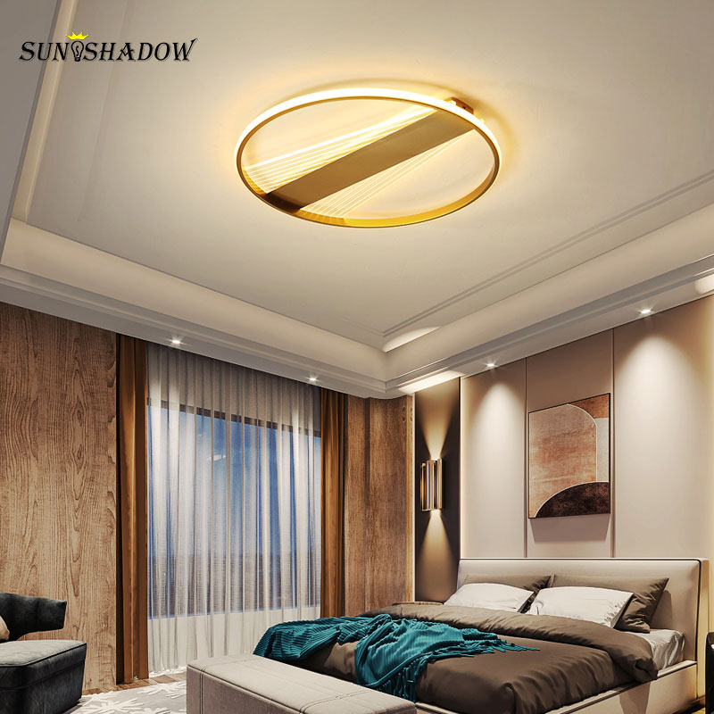 Ceiling mounted Modern Led Ceiling Light Acrylic Lampshade Gold body Ceiling Lamp for Living room Bedroom Dining room luminaires brown white modern led ceiling lights metal acrylic ceiling lamps for living room bed room surface mounted led ceiling light