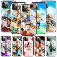 glass cover for apple iphone 12 mini 11 pro 7 xr x xs max 6 6s 8 plus tempered capa phone case shell anime one piece
