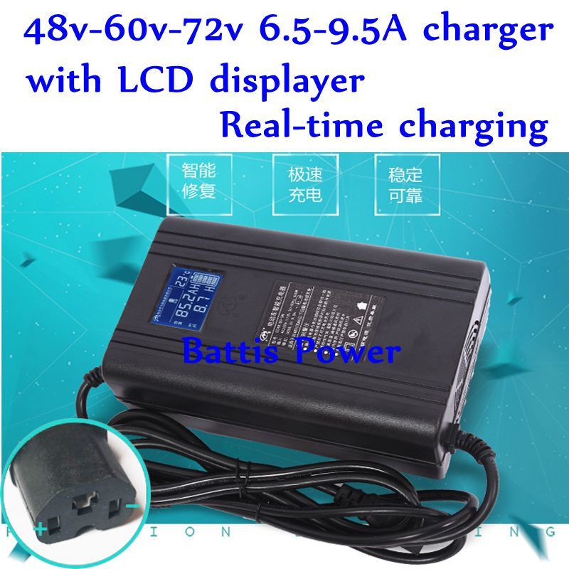 6.5A 9.5A 58.4v 54.6v 67.2v 73v 84v 87.6v DC 48v 60v 72v 58.8v Lithium Lifepo4 LTO Battery Charger LCD Screen 110v 220v AC