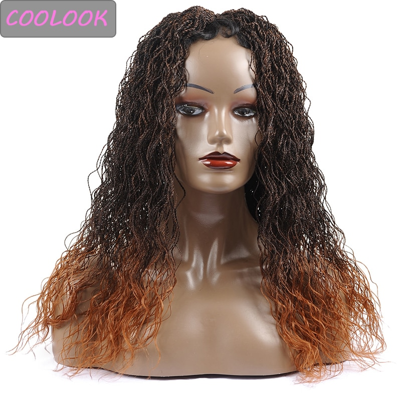 30Inch Long Curly Senegalese Twist Braids Lace Wig Lace Front Wig for Black Women Synthetic Ombre Brown Twisted Lace Braided Wig
