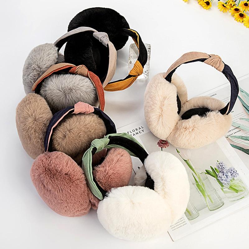 Складные наушники, зимние аксессуары для женщин, наушники, повязка на голову, наушники, теплые наушники, плюшевые меховые наушники для девоч...