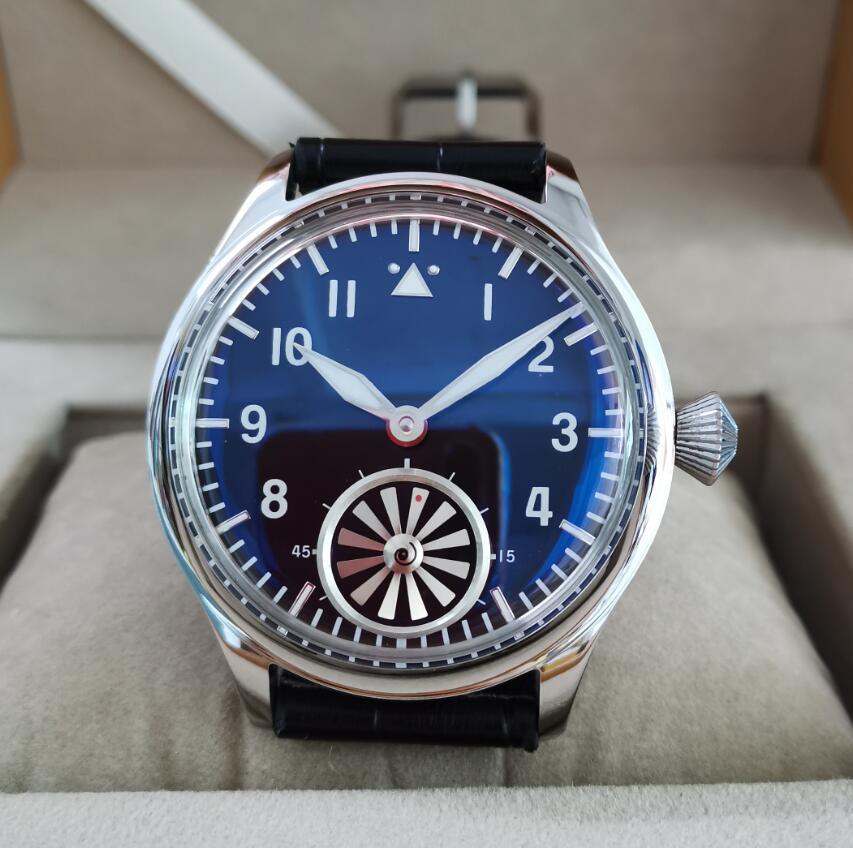 44 مللي متر ليس لديهم شعار اليد الميكانيكية الرياح ساعة رجالي الزجاج الأزرق انتفاخ فقاعة مرآة الدورية التوربينات النورس st3621 حركة G053