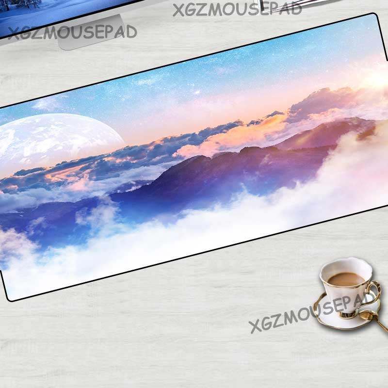 Xgz paisagem grande mouse pad preto bloqueio borda lua estrelado computador mesa esteira montanha rio nuvem de borracha listra antiderrapante 70x30