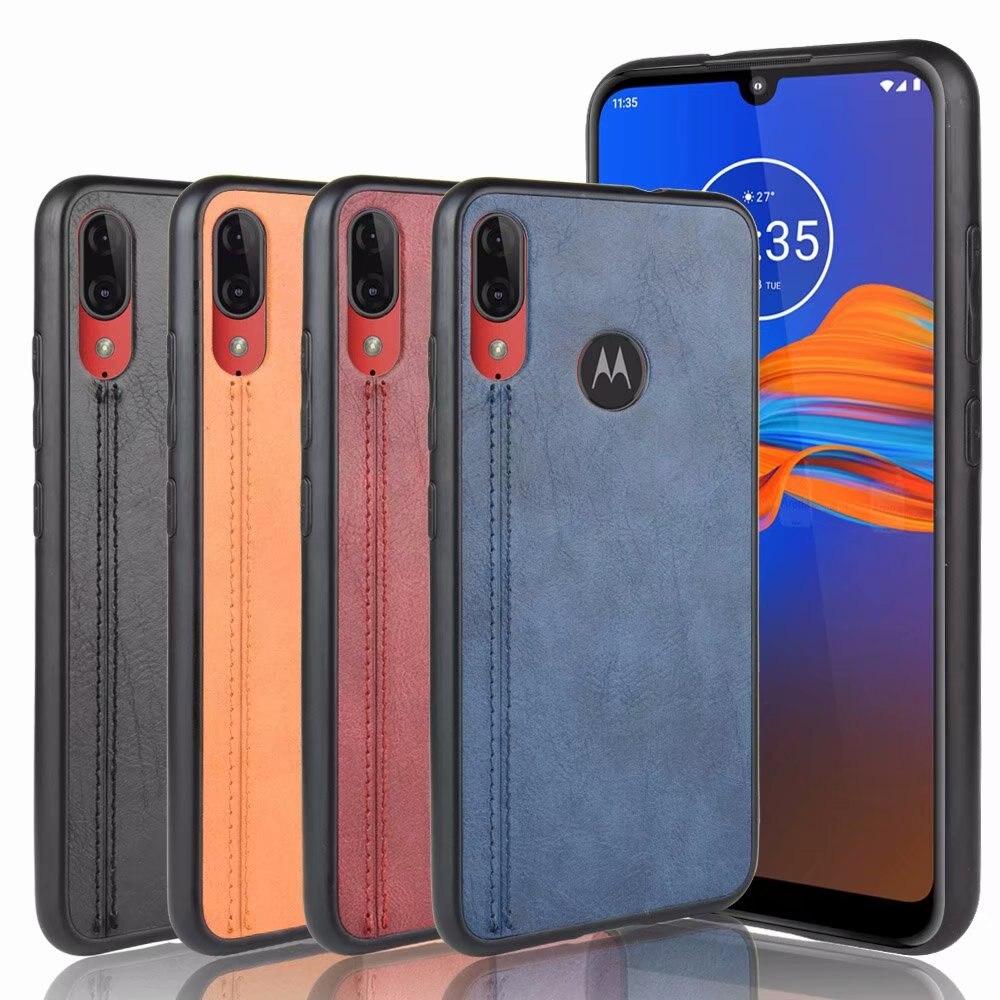 Para Motorola MOTO E6 funda dura de cuero PU funda de teléfono de plástico duro para Moto E6 Plus funda trasera