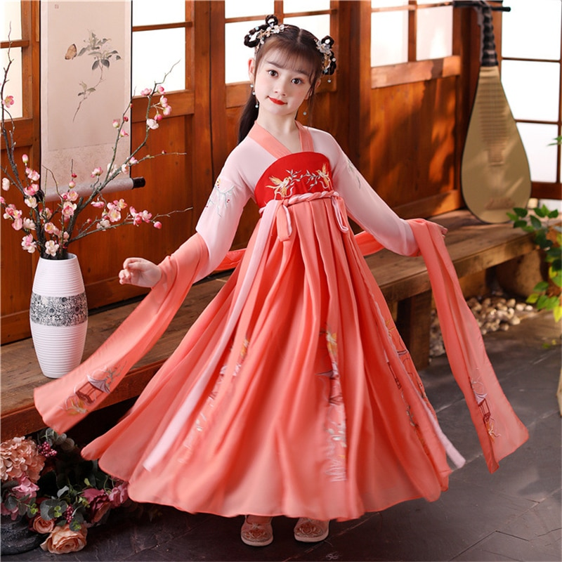 الصينية التقليدية فستان الصينية الرقص الشعبي فتاة Hanfu الأطفال تأثيري ازياء الأميرة تانغ دعوى الاطفال Hanfu