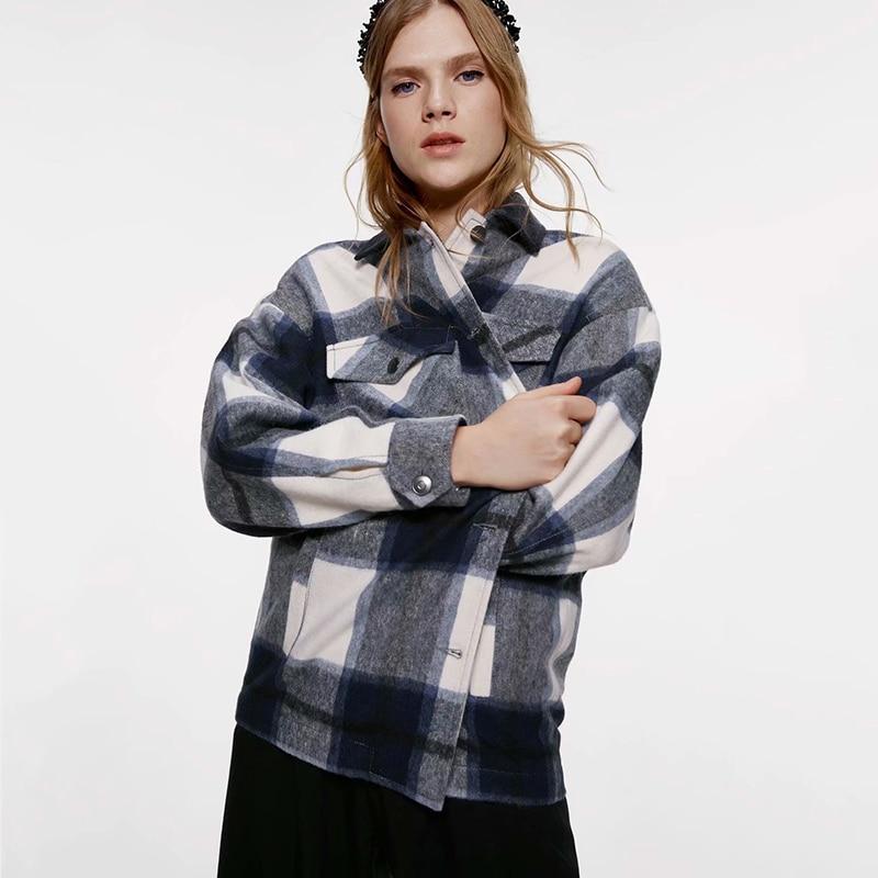 New ZA Plaid Shirt Coat Women Turn-Down Collar Long Sleeve Pocket Front Breasted Closure Casual Plaid Coat Wholesale