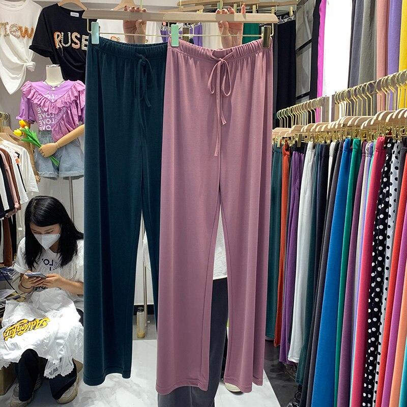 Повседневные женские брюки Cuprammonuium в Корейском стиле Dongdaemun, новые свободные повседневные прямые широкие брюки с эластичным поясом для поху...