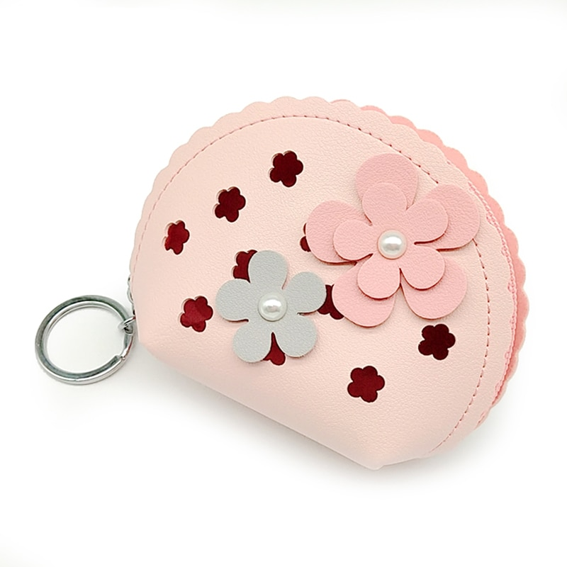 Flowers Women Girl Purses Earphone Bank Card Storage Kids Purse Key Keychain Cute Small Bag Coin Wallets Porte Monnaie Femme