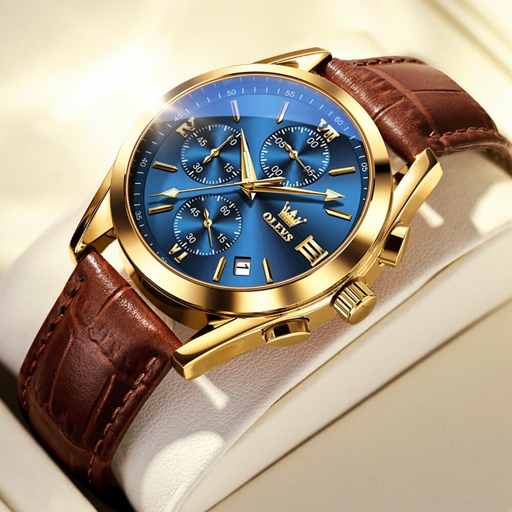 OLEVS موضة ساعة للرجال العلامة التجارية الفاخرة مقاوم للماء ساعة كوارتز براون جلدية ساعات يد رياضية Relogio Masculino 2872