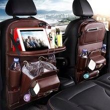 Pu Leather Car Seat Back Organizer Tray Travel Car Storage Organizer Pad Bag With Foldable Table Car