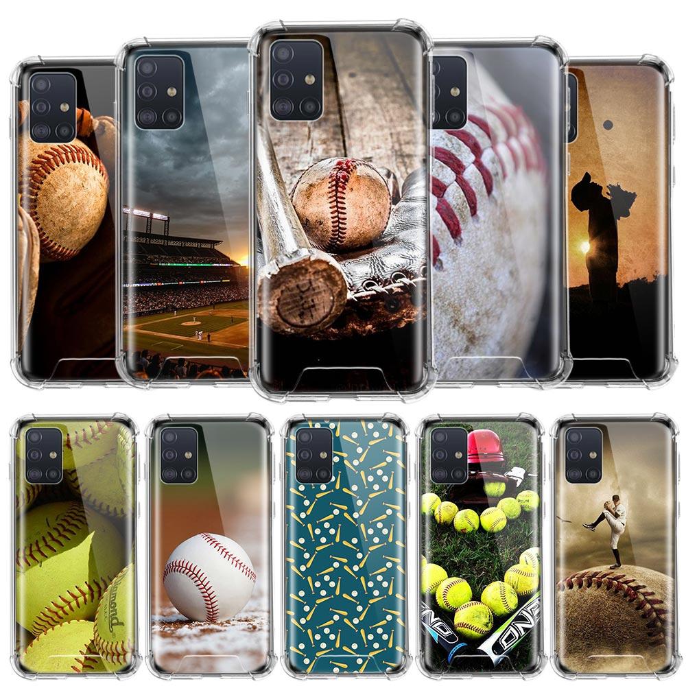 Caixa de beisebol esporte legal para samsung galaxy a51 a71 a01 a21 m31 a91 s20 ultra 5g airbag anti-queda tpu sac capa de telefone