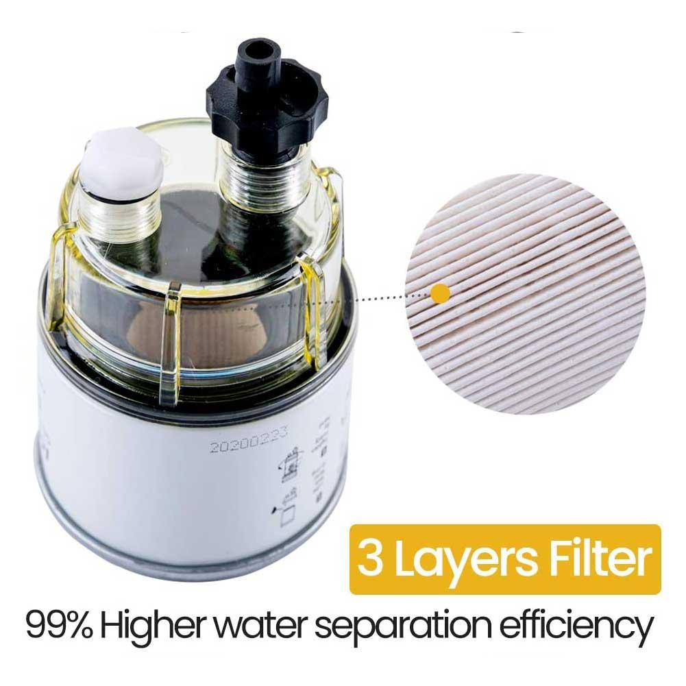 Práctico R12T para piezas de repuesto de barcos, fácil instalación, filtro de combustible de tanque, separador de aceite de agua de placa electrochapada multifunción