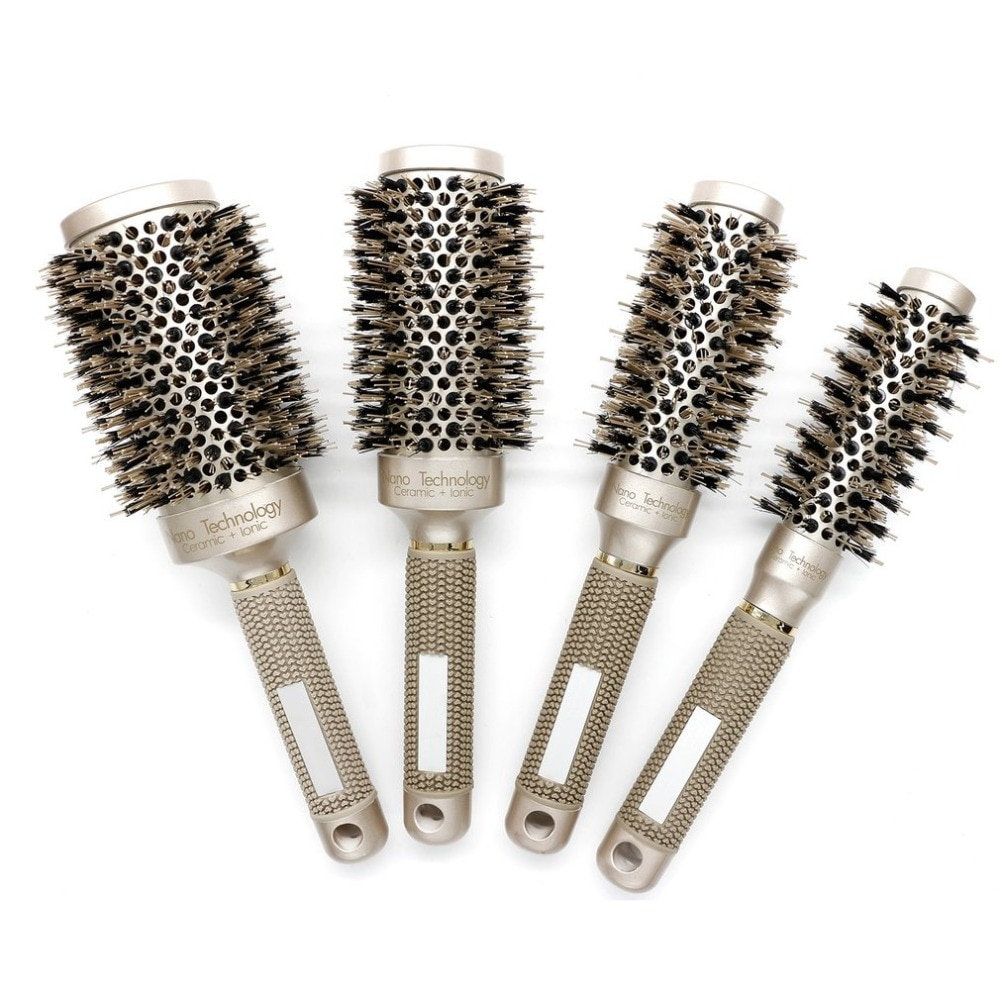 25/32/45/53mm Nylon y cerdas de cepillo redondo pelo cerámica de aluminio pelo peine profesional de peluquería cepillo Barber peinado peine