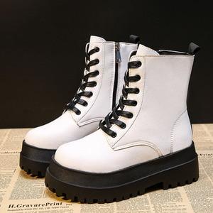 RIBETRINI  Brand Female Motorcycle white Boots platform punk lace up zipper ankle boots women designer luxurt wedges shoes woman