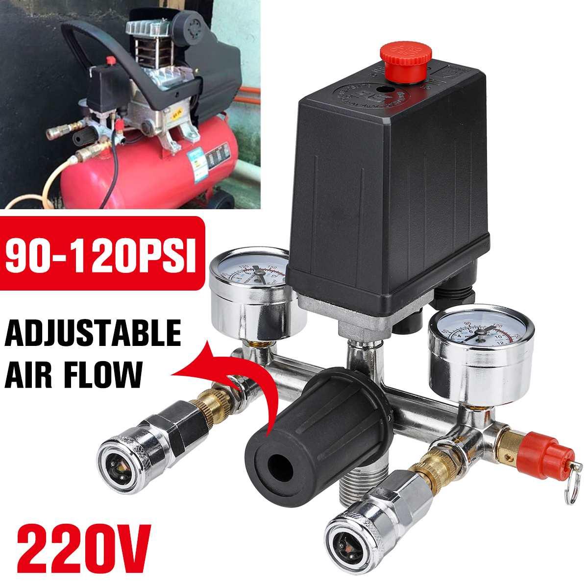 220 فولت ضاغط الهواء مفتاح ضغط صمام مضخة سبائك الألومنيوم التحكم صمام مشعب الإغاثة منظم مع 0-180 Psi مقياس
