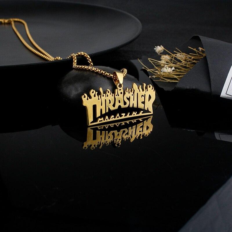 Персонализированные ювелирные изделия Thrasher по индивидуальному заказу с именем пламени надписью модные европейские и американские подарки...