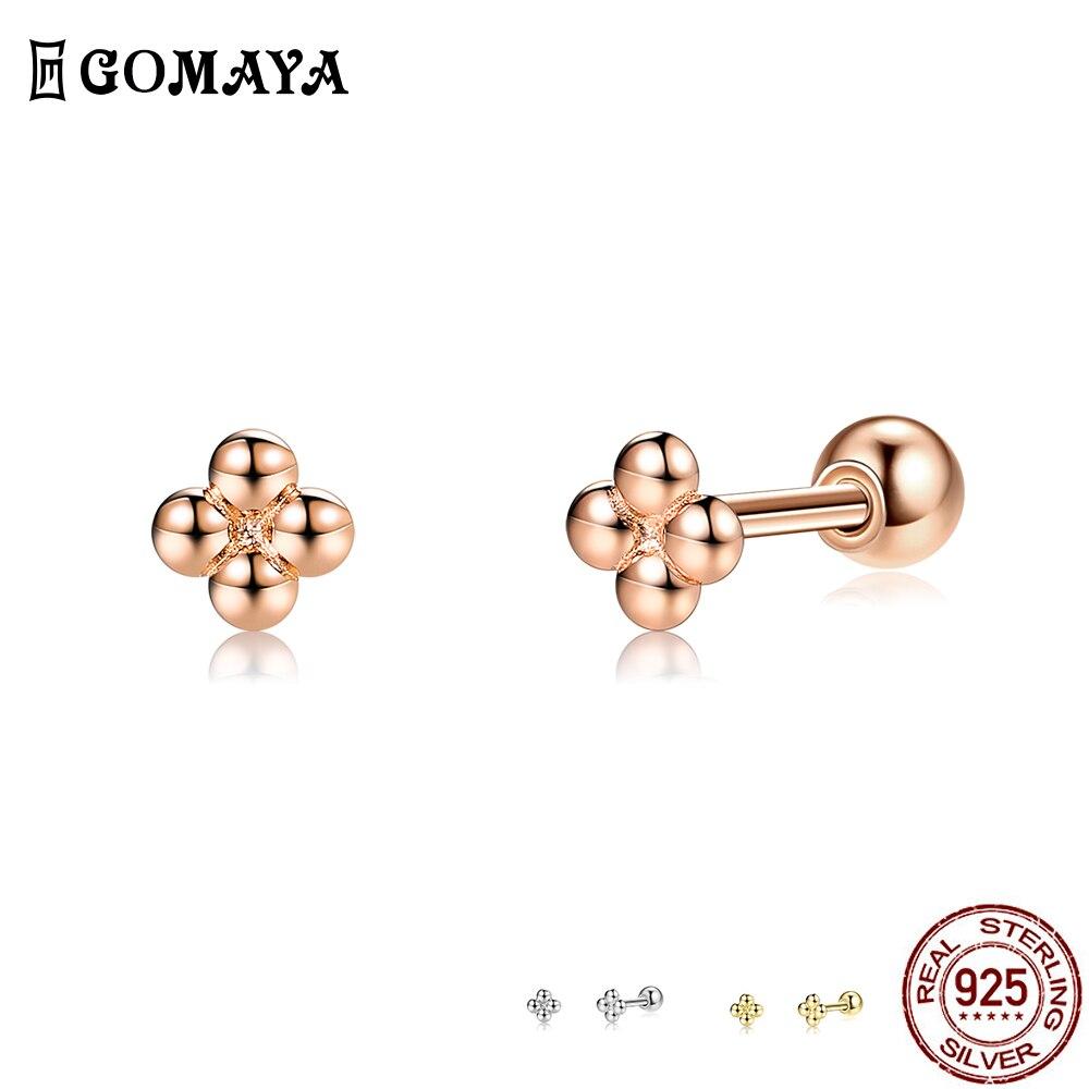 GOMAYA 925 Sterling Silver Minimalist Tiny Cute Stud Earrings For Women Cross Flower Prevent Allergy Earring Fine Jewelry Gift