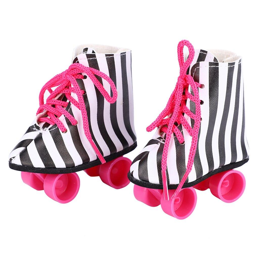 43 cm sapatos de bonecas do bebê recém-nascido moda branco roxo patins polia sapato do bebê brinquedos caber americano 18 polegada meninas boneca