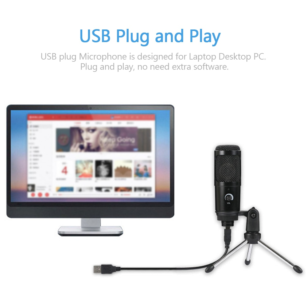 Microphone USB Microphone Plug and Play for Computer Laptop PC USB Plug Stand Studio Podcasting Recording Microfone Karaoke Mic enlarge