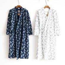Nouveau hommes japonais printemps été Yukata Homewear coton robes tissé peignoir feuilles Robe japonaise Kimono traditionnel Cardigan