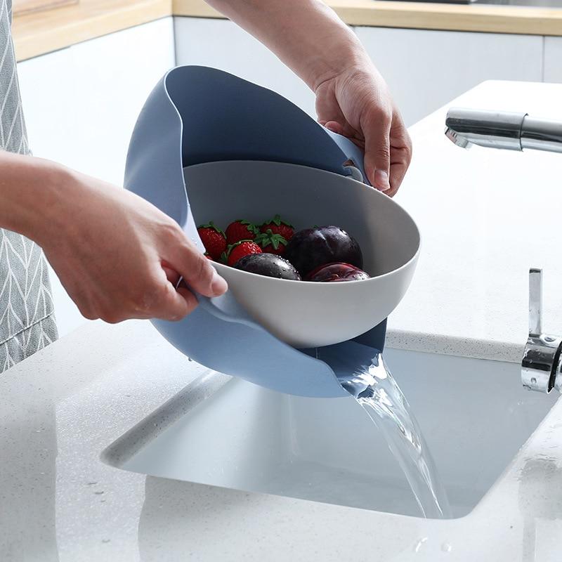 Multifunction Kitchen Strainer Double Drain Basket Vegetables Fruit Washing Strainer Bowls