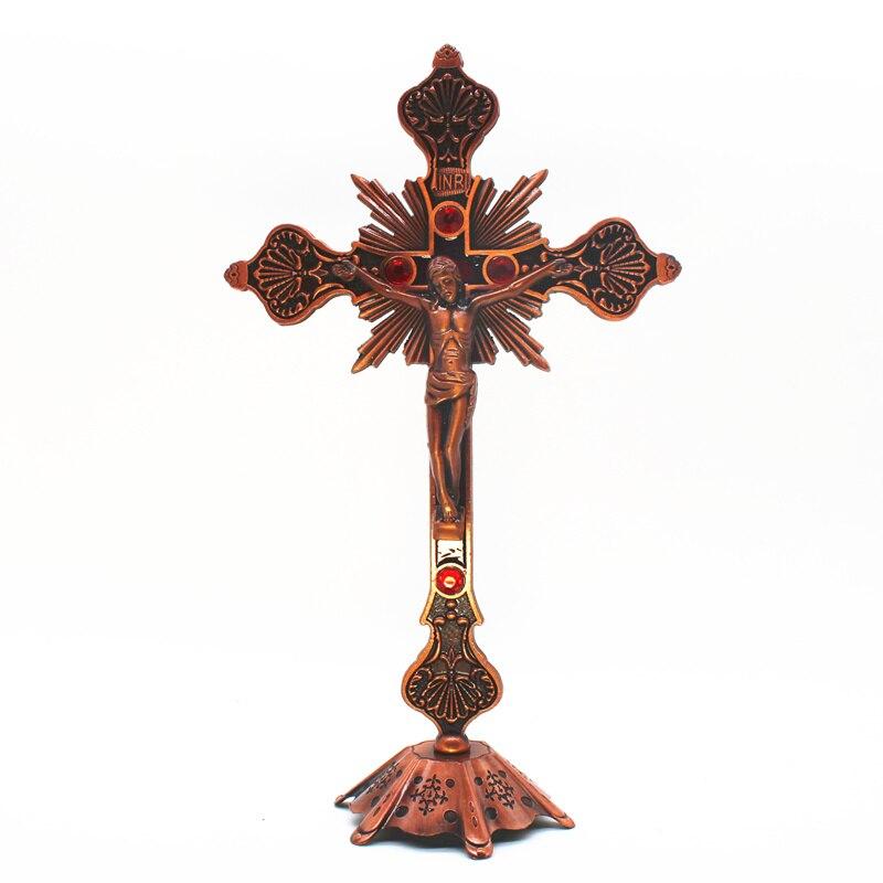 Adornos de Jesucristo reliquias de Iglesia decoraciones de pared para el hogar Cruz StandChristian